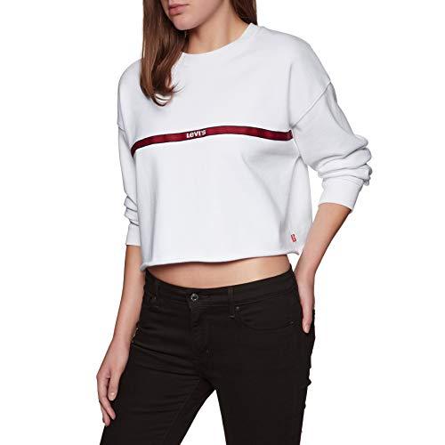 Levis Damen Sweatshirt Graphic RAW Cut Crew 56340-0011 Weiß, Größe:S -
