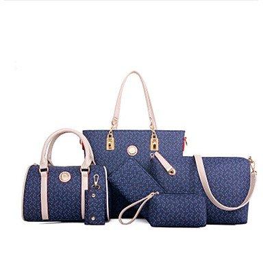 Moda Donna sei lanosi gioco stampa pacchetto fishbone linee una spalla la sua borsetta,Deep Blue Deep Blue