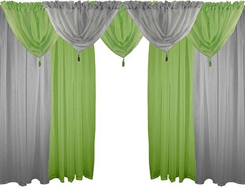 Silber & Grün 9Stück Voile Vorhänge Set 137,2cm 137cm Rod Pocket Drapes & Girlanden - Rod Vorhang Grüne