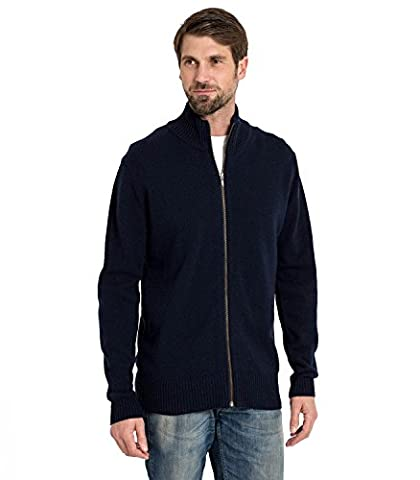 WoolOvers Mens Lambswool Lincoln Zipper Knitted Cardigan Navy, M
