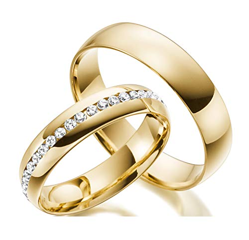 2 Trauringe 585 14 Karat Echt Gold Trauringe Vollkranz Gelb-gold Ehe-ringe Massiv Gold mit Gravur LM.07 (14 Karat (585) Gelbgold) (Gold Gelb Ring)