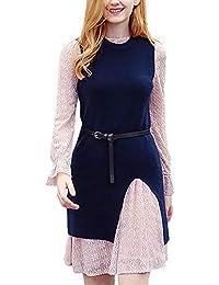 51c61904b7 Mujer Set Vestido De Encaje Y Chaleco De Punto Otoño Slim Fit Invierno Moda  Dos Piezas Abiertas Negocios Elegantes…