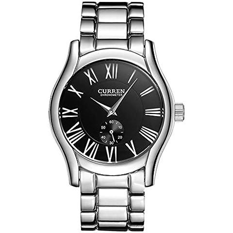downj Hombres del Deporte Ocio Estilo Calidad Reloj de pulsera de cuarzo de banda de aleación de plata (negro)