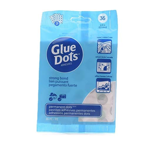 Glue Dots Dollar Pack Doppelseitige Klebepunkte, 3 Bogen mit 36 Punkten, Permanent, Rund, 13 mm, Vielseitige Verwendung, DIY Basteln und Scrapbooking (Power-strip-pack)