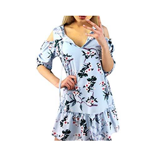 sunnymi  Frauen Kleider Sommer Sexy V-Ausschnitt Off-Schulter Laternenärmel Print Dress
