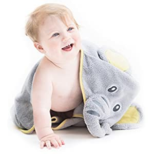 Hooded Baby Towel - Elephant, Hooded Bath Towels for Babies, Toddlers - Baby Towel Perfect Baby Shower Gift for Boys and Girl by Little Tinkers World