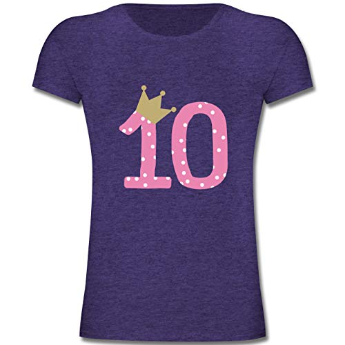 Geburtstag Kind - 10. Geburtstag Krone Mädchen Zehnter - 140 (9-11 Jahre) - Lila Meliert - F131K - Mädchen Kinder T-Shirt
