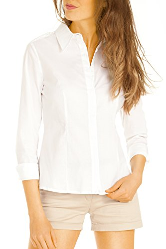 Bestyledberlin Damen Basic Blusen, Einfarbige taillierte Stretch Damenbluse, Elegante Langarm Hemden t43z Weiß