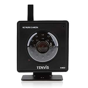 """Caméra IP de surveillance Tenvis Mini319W - Caméra IP de sécurité wifi sans fil d'intérieur à capteur CMOS 1/4"""" 300 000 Pixels - Contrôle/ visionnage possible depuis ordinateur Pc/Mac, Iphone, smartphone, tablette et depuis n'importe où via internet (noir)"""