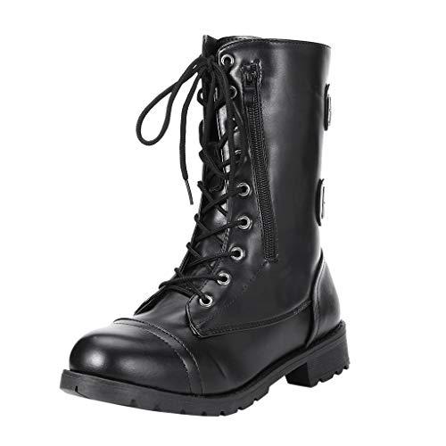 Wawer Damen Schuhe Britischen Stil Volltonfarbe Reißverschlusstasche Gürtelschnalle mit einem Rohr Stiefel Kurze Stiefel Motorradstiefel
