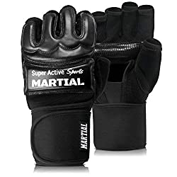 MMA gloves professional by Martial - professional quality - high quality construction - boxing, training, sandbag, punching bag, freefight, grapling, martial arts - black - boxing gloves