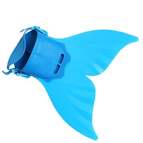 Meerjungfrauenschwanz Kostüm (Starjerny 3PS Mädchen Meerjungfrauen Bikini Set Schwimmanzug Badeanzüge Bademode Prinzessin Kostüm Meerjungfrauenschwanz für Schwimmen Kinder 5-14 Jahre Farbewahl (40cm*40cm*18cm, Blau 1))