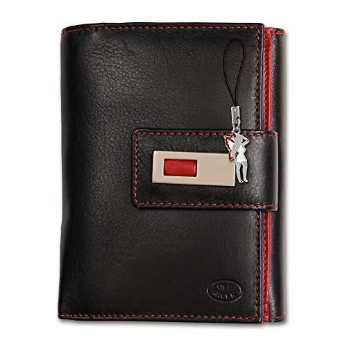 SilberDream Old River Unisex Portemonnaie Geldbörse schwarz rot Leder 11x3x14cm OPD701S Leder Portemonnaie