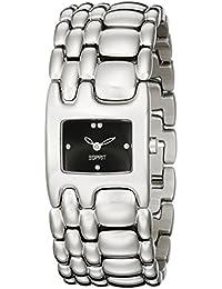 Esprit Damen-Armbanduhr Houston Delta Pure Black Analog Quarz Edelstahl ES103902004
