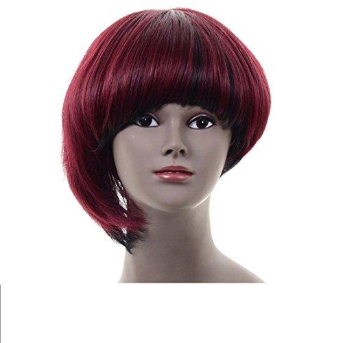 Haarverlängerungen Bob Stil Ombre rote Kunsthaarperücke mit freien Perückekappe (Seite Pony Mit Pferdeschwanz)