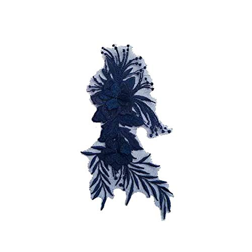 LAMEIDA Applikation Stickerei Blumen Sticker Tuch Stoff Aufkleber Patch Flicken size 22cm*12cm (dunkel blau) -