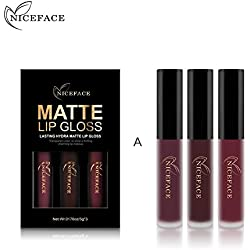 Lápiz de labios mate, kit de lápiz labial líquido de larga duración impermeable y humectante natural Por filfeel(A)