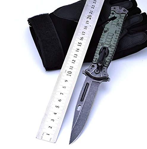 Ideaselection Klappmesser LED licht Aluminium Taschenmesser schwarz Premium Outdoor Camping Taktische Messer Einlagen Griff Schwert Pocket Knife Mulit EDC Tools