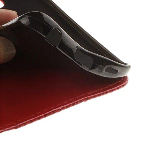 Coque iPhone 7 Vanki® Retro tournesol Housse PU Cuir similicuir à rabat Intérieure Protection Souple Coque Silicone Case Cover Pour IPhone 7 Rouge