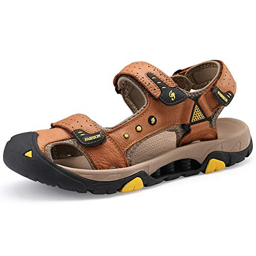 e455d323f7e8 COOJOY Sports Outdoor Sandals Summer Men Closed Toe with Shock-Absorbing  Cushion Fisherman Beach Hiking