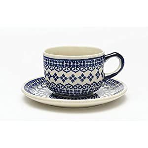 Boleslawiec Pottery Hand Made Cup and Saucer set, pattern 922