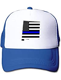 New Mexico Map Mapthin Blue Line Design Classic Adjustable Mesh Trucker Hat Unisex Adult Baseball Cap