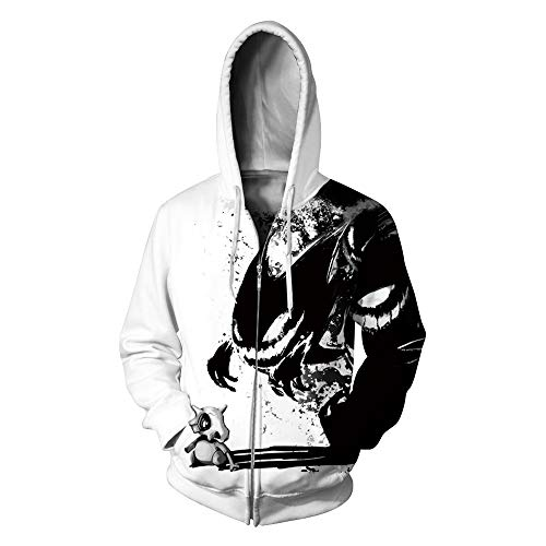 LeeQn 3D Unisex Druck Männlich Weiblich Anime Cosplay Hoodie Kapuzenpullover Langarm Sweatshirt Kapuzenjacke Teufel Muster Reißverschluss M