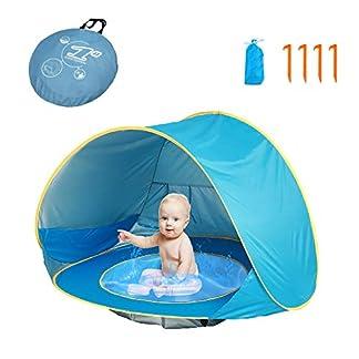 HUSAN Tienda de campaña portátil para bebés Playa, Instantáneas Tiendas Camping para niños, Piscina para Tienda de campaña Ligera UPF 50 + Refugio para Parasol, Edad 0 – 3, para 1 – 2 niños