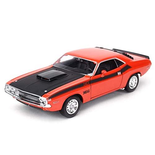 Simulation Automodell, 1:24 Challenger 1970 Legierung Druckguss Dekoration Handwerk Weihnachtsgeschenk 19,4 * 7,7 * 5,4 CM (Color : Red) -