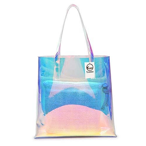 Yoome PVC-Hologramm-Laser-Tasche, transparent, 2-in-1 Gewebte Handtasche Schultertasche für Frauen -