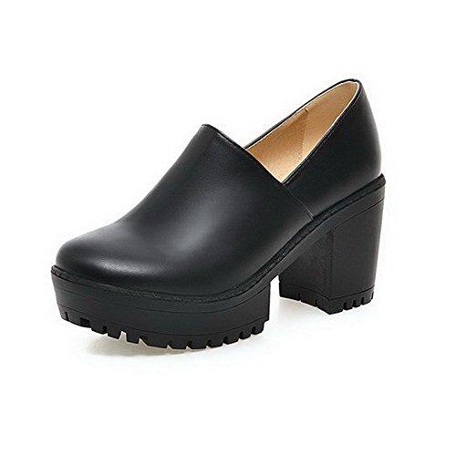AgooLar Femme Tire Rond à Talon Haut Pu Cuir Couleur Unie Chaussures Légeres Noir