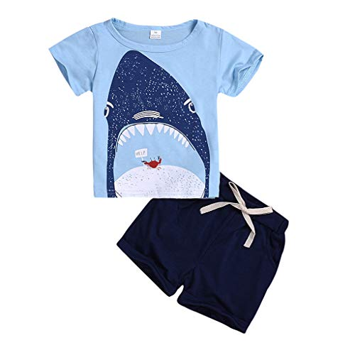 Kostüm Mantel Tragen Blauen Kleinkind - Cuteelf Baby Anzug Kleinkinder tragen Jungen Pyjama Cartoon T-Shirt Top Kurze Zweiteilige Kinder Kurzarm Cartoon Hai T-Shirt Shirt Shorts Anzug Home Service