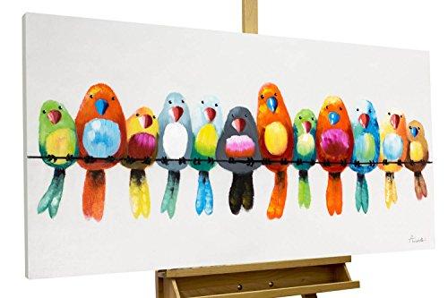 Vogel Leinwand Kunst (KunstLoft® Acryl Gemälde 'Freunde fürs Leben' 120x60cm | original handgemalte Leinwand Bilder XXL | Vögel Heimat Bunt Papagei Wellensittich | Wandbild Acrylbild moderne Kunst einteilig mit Rahmen)