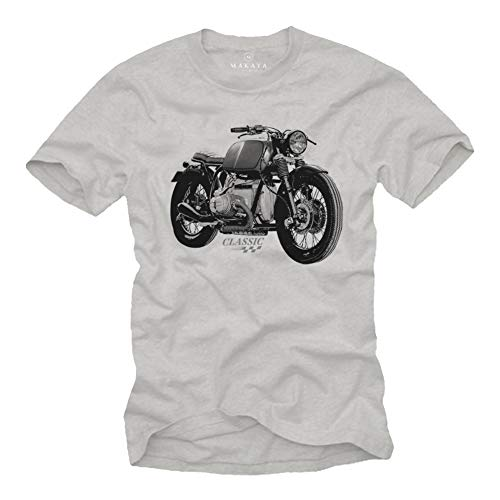 MAKAYA Motorrad T-Shirt Herren - R100 Vintage Biker Oldtimer Motiv - Kurzarm Rundhals grau Größe XXL