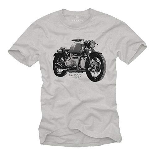 MAKAYA Abbigliamento Moto Vintage Oldtimer T-Shirt - Magliette Motociclista Regali Grigio M
