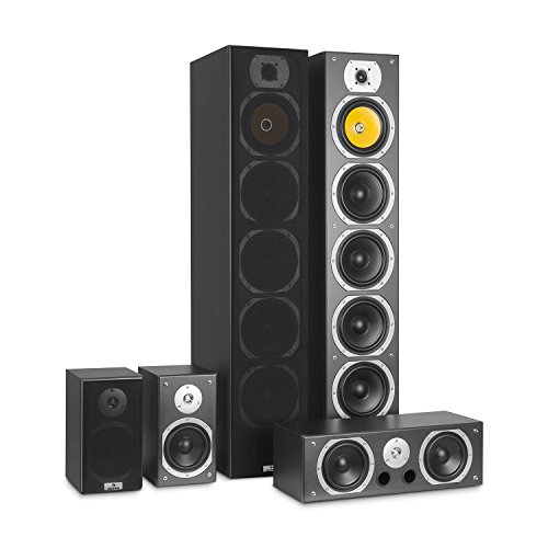 AUNA V9B Surround Lautsprecher - Boxen Set, Surround Sound-System, Heimkinosystem, gemasertes Bassreflex-Chassis, 400 Watt RMS, Frequenzgang: 20 Hz bis 20 kHz, Wandmontage möglich, schwarz