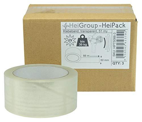 HeiPack 3 Rollen Klebeband 66 m x 50 mm (Länge x Breite), 51 my, leise abrollend, transparent