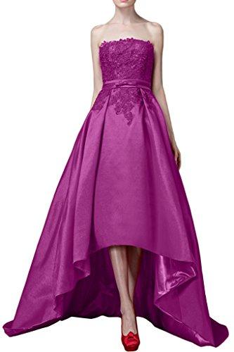 Promgirl House Damen Modisch Satin Traeger A-Linie Abendkleider Cocktail Fest Ballkleider Lang mit Spitze Lila