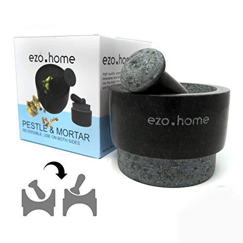 Ezo.Home Mörser und Stößel, Granit, 14 cm, doppelseitig verwendbar
