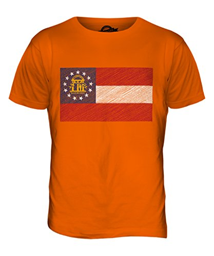 CandyMix Bundesstaat Georgia Kritzelte Flagge Herren T Shirt Orange