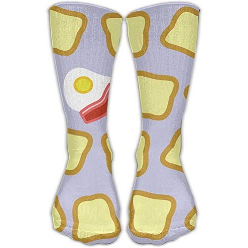 Women Teens Casual Warm Winter Knee High Socks Men Toast Bread Bacon Eggs Pattern Long Tube Stockings for Athletic Football -