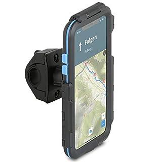 Wicked Chili Tour Case kompatibel mit Apple iPhone XS MAX - passgenaues Case mit Fahrrad Lenkerhalterung für Navigation (Schutz vor Regen, Ladekabelanschluss) schwarz