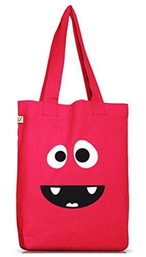 Shirtstreet24, MONSTER HIPPO, Karneval Fasching Kostüm Jutebeutel Stoff Tasche Earth Positive, Größe: onesize,Hot Pink