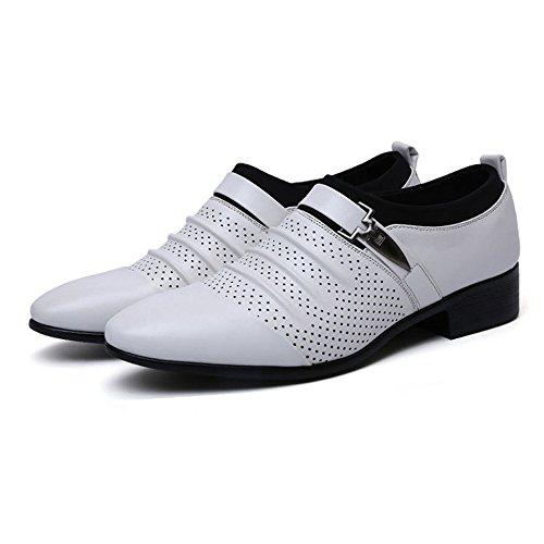 Shengjuanfeng Herren Business Schuhe glatt PU Leder Splice oberen Slip-on Mesh Oxfords (Color : Weiß, Größe : 43 EU) - Weiße Glatt-leder-schuh