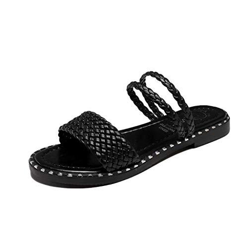 SHE.White Damen Weberei Flache Sandalen Outdoorschuhe Bohemia Beach Sandal Offener Zeh Sandaletten Sommerschuhe Unterseite Schuhe Schwarz Weiß -