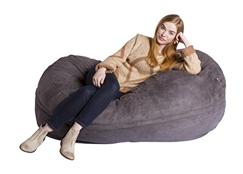 Giant Bean Bag Chairs Giant-V-1 Econo Foam-Filled Lounge Sac, 5' Oval Diameter, 2' Height, Vintage Suede, Charcoal