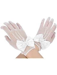 Brauthandschuhe damen Frauen Mädchen Braut Spitzenhandschuhe für hochzeit halloween party Sommer Netzhandschuhe Sonnenschutz weich kurz Abendhandschuhe Schöne elastisch one size mit Bogen weiß
