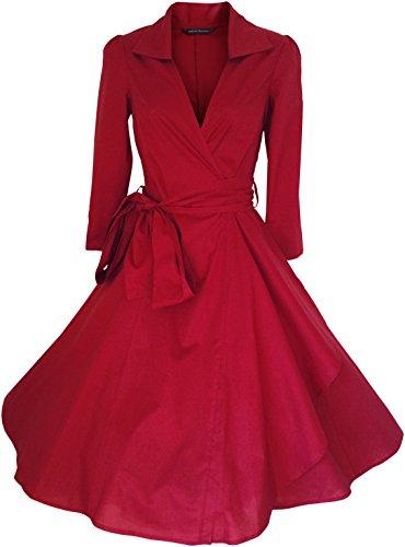 LOOK FOR THE STARS Retro Vintage Kleid Abend Party 50er Jahre Stil Rockabilly / Sommerkleid/Cocktailkleid, Größen EU 32-54 Rot