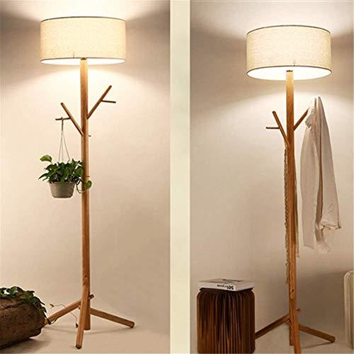 Stehlampe Modernen Einfachen Japanischen Stil Kleiderbügel Stehlampe Leinenschirm Massivholz Stativ Ast Stehleuchte mit Fußschalter für Wohnzimmer Schlafzimmer Büro -