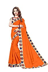 Bhuwal Fashion Womans CHANDERI silk KALAMKARI saree with Blouse (BLUE) (ORANGE)